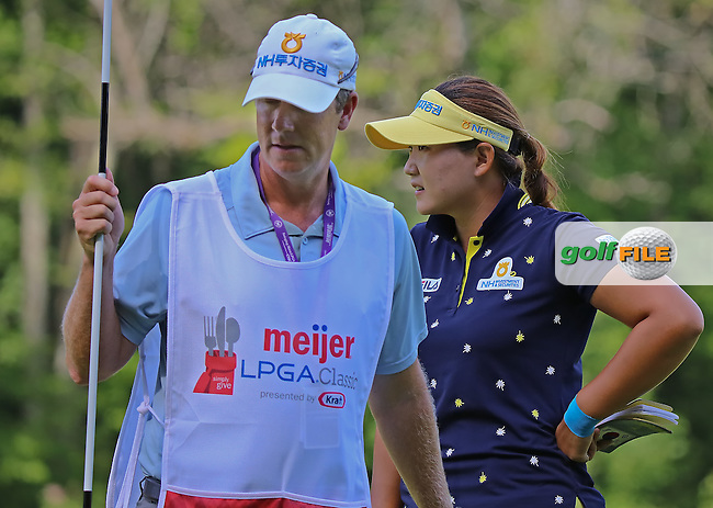 21 JUL 15 Defending champion Miram Lee with veteran caddie Dylan during the Wednesday Pro Am Round of The Meijer LPGA Classic at The Blythefield Country Club in Belmont, Michigan. (photo credit : kenneth e. dennis/kendennisphoto.com)