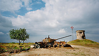 An abandoned tank sits in a former shooting range of the Soviet army, which is now used by the German armed forces. CHECK with MRM/FNA