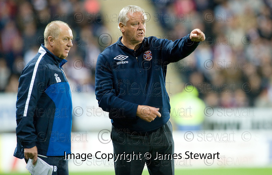 21/09/2010   Copyright  Pic : James Stewart.sct_jsp027_falkirk_v_hearts  .:: HEARTS MANAGER JIM JEFFERIES AND BILLY BROWN :: .James Stewart Photography 19 Carronlea Drive, Falkirk. FK2 8DN      Vat Reg No. 607 6932 25.Telephone      : +44 (0)1324 570291 .Mobile              : +44 (0)7721 416997.E-mail  :  jim@jspa.co.uk.If you require further information then contact Jim Stewart on any of the numbers above.........