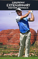 Ricardo Santos (POR) on the 17th tee during Round 1 of the ISPS HANDA Perth International at the Lake Karrinyup Country Club on Thursday 23rd October 2014.<br /> Picture:  Thos Caffrey / www.golffile.ie