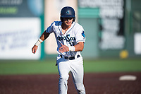 Everett AquaSox first baseman Nick Rodriguez (17) runs towards third base during a Northwest League game against the Tri-City Dust Devils at Everett Memorial Stadium on September 3, 2018 in Everett, Washington. The Everett AquaSox defeated the Tri-City Dust Devils by a score of 8-3. (Zachary Lucy/Four Seam Images)