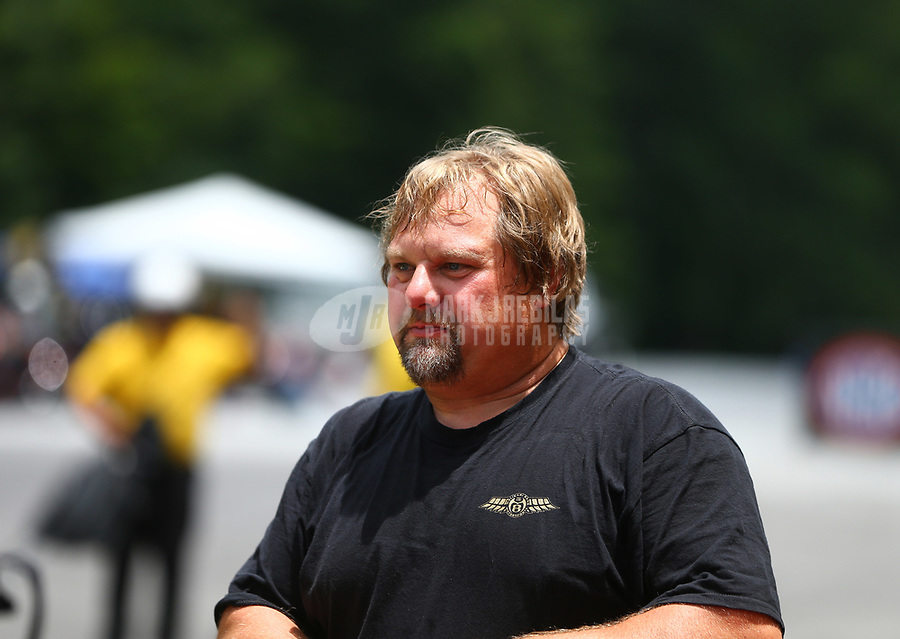 Jun 17, 2017; Bristol, TN, USA; NHRA pro mod driver Shane Molinari during qualifying for the Thunder Valley Nationals at Bristol Dragway. Mandatory Credit: Mark J. Rebilas-USA TODAY Sports