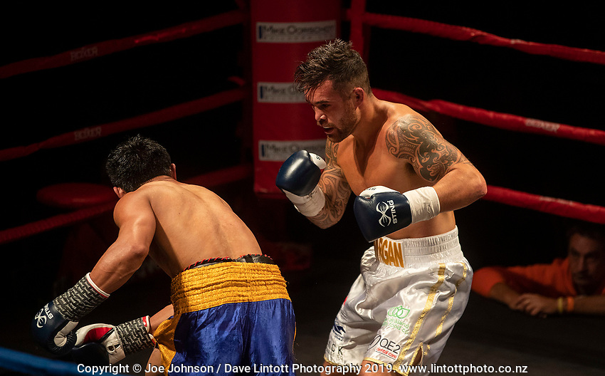 Bowyn Morgan v Jack Asis WBU welterweight world championship fight at Christchurch Boys' High School auditorium in Christchurch, New Zealand on Saturday, 18 May 2019. Photo: Joe Johnson / lintottphoto.co.nz