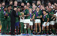 The Springboks celebrate winning the Rugby World Cup Final match between South Africa Springboks and England Rugby World Cup Final at the International Stadium in Yokohama, Japan on Saturday, 2 November 2019. Photo: Steve Haag / stevehaagsports.com