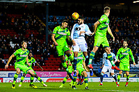 Blackburn Rovers' Derrick Williams competes in the air with Norwich City's Ben Godfrey<br /> <br /> Photographer Alex Dodd/CameraSport<br /> <br /> The EFL Sky Bet Championship - Blackburn Rovers v Norwich City - Saturday 22nd December 2018 - Ewood Park - Blackburn<br /> <br /> World Copyright © 2018 CameraSport. All rights reserved. 43 Linden Ave. Countesthorpe. Leicester. England. LE8 5PG - Tel: +44 (0) 116 277 4147 - admin@camerasport.com - www.camerasport.com