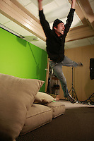 Friday, Saturday, Sunday August 8,9,10 2008 San Diego, CA.  Actor Thomas Hall dives across across a green screen in a scene being fiimed by production company Renegade Swine at a studio in San Diego.  The Renegade Swine team was part of the 48-Hour Film Project, a contest to write, shoot, edit and score an entire movie in just two days.