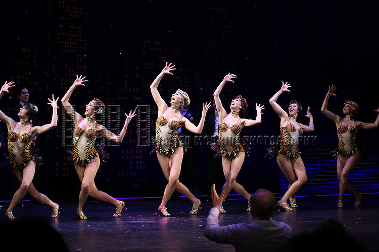 """Ensemble cast during the Broadway Opening Night Performance Curtain Call for ''Bullets Over Broadway'""""at the St. James Theatre on April 10, 2014 in New York City."""