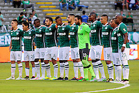 CALI - COLOMBIA -02-06-2016: Los jugadores de Deportivo Cali, durante partido de ida de los cuartos de final entre Deportivo Cali y Deportivo Independiente Medellin, por la Liga Aguila I-2016, jugado en el estadio Deportivo Cali (Palmaseca)  de la ciudad de Cali. / The players of Deportivo Cali, during a match for the first leg of the quarter of finals between Deportivo Cali and Deportivo Independiente Medellin for the Liga Aguila I-2016 at the Deportivo Cali (Palmaseca) stadium in Cali city. Photo: VizzorImage  / Nelson Rios / Cont