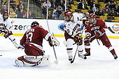 Brian Gibbons (BC - 17), Kyle Richter (Harvard - 33), Ben Smith (BC - 12), Danny Biega (Harvard - 9) - The Boston College Eagles defeated the Harvard University Crimson 6-0 on Monday, February 1, 2010, in the first round of the 2010 Beanpot at the TD Garden in Boston, Massachusetts.