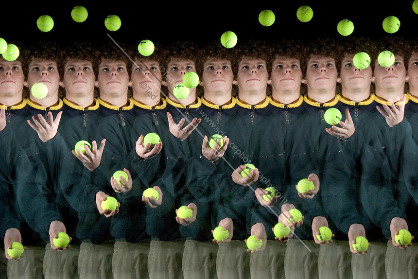A boy juggles three balls.  The motion is recorded by a special stroboscopic camera.  The record of the motion can be analyzed to show both the timing and range of the motion.  This type of image is very important in the science of biomechanics.