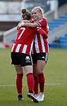 Jade Pennock of Sheffield Utd celebrates her goal with Olivia Ferguson during the The FA Women's Championship match at the Proact Stadium, Chesterfield. Picture date: 8th December 2019. Picture credit should read: Simon Bellis/Sportimage