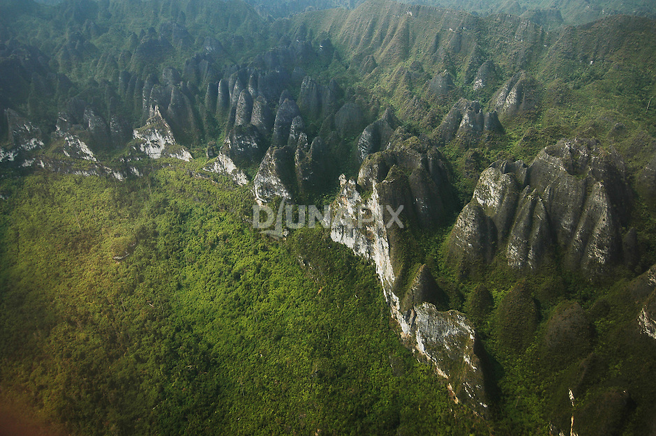 Karst escarpments and doline fields between  Baai and Marang. Based on research findings at Sangkulirang, The Nature Conservancy has negotiated protected status for 70% and 80% of Sangkulirang land area within the East Kutai and Berau districts, respectively.