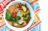Plate of Thai curry soup on patterned tablecloth ExclusiveImage