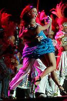Couple franticly dancing samba at Cidade do Samba ( Samba City), Rio de Janeiro nightlife, samba show for tourists, Brazil.
