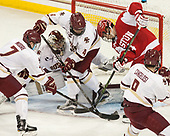 Connor Moore (BC - 7), Joe Woll (BC - 31), Michael Kim (BC - 4), Bobo Carpenter (BU - 14), Austin Cangelosi (BC - 9) - The visiting Boston University Terriers defeated the Boston College Eagles 3-0 on Monday, January 16, 2017, at Kelley Rink in Conte Forum in Chestnut Hill, Massachusetts.