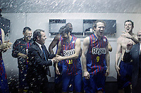 FC Barcelona Regal's President Ssandro Rosell celebrates the victory in the Spanish Basketball King's Cup Final match with Sarunas Jasikevicius, Juan Carlos Navarro, Nathan Jawai, Marcelinho Huertas, and CJ Wallace.February 07,2013. (ALTERPHOTOS/Acero)