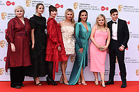 LONDON, UK. May 12, 2019: Derry Girls cast (Siobhan McSweeney, Louisa Harland, Kathy Kiera Clarke, Saoirse-Monica Jackson, Jamie-Lee O'Donnell, Nicola Coughlan & Dylan Llewellyn) arriving for the BAFTA TV Awards 2019 at the Royal Festival Hall, London.<br /> Picture: Steve Vas/Featureflash