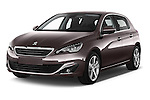 2015 Peugeot 308 Feline 5 Door Hatchback Angular Front stock photos of front three quarter view