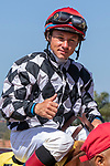 DEL MAR, CA  AUGUST 4:  Drayden Van Dyke aboard #4 Tap the Wire, gives a thumbs up after winning the Graduation Stakes on August 4, 2018 at Del Mar Thoroughbred Club in Del Mar, CA. (Photo by Casey Phillips/Eclipse Sportswire/ Getty Images)