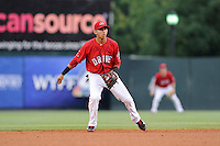 Shortstop Javier Guerra (31) of the Greenville Drive plays the infield in a game against the Augusta GreenJackets on Thursday, June 11, 2015, at Fluor Field at the West End in Greenville, South Carolina. Guerra is the No. 13 prospect of the Boston Red Sox, according to Baseball America. Greenville won, 10-1. (Tom Priddy/Four Seam Images)
