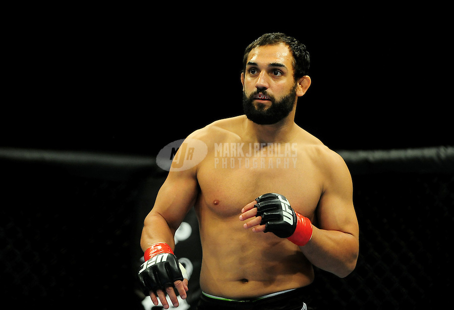 Aug. 7, 2010; Oakland, CA, USA; UFC fighter Johny Hendricks during the welterweight bout in UFC 117 at the Oracle Arena. Mandatory Credit: Mark J. Rebilas
