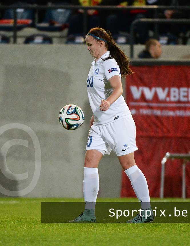 20160412 - LEUVEN ,  BELGIUM : Estonian Ketlin Saar pictured during the female soccer game between the Belgian Red Flames and Estonia , the fifth game in the qualification for the European Championship in The Netherlands 2017  , Tuesday 12 th April 2016 at Stadion Den Dreef  in Leuven , Belgium. PHOTO SPORTPIX.BE / DIRK VUYLSTEKE