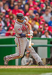 4 April 2014: Atlanta Braves shortstop Andrelton Simmons in action during the Washington Nationals Home Opening Game at Nationals Park in Washington, DC. The Braves edged out the Nationals 2-1 in their first meeting of the 2014 MLB season. Mandatory Credit: Ed Wolfstein Photo *** RAW (NEF) Image File Available ***
