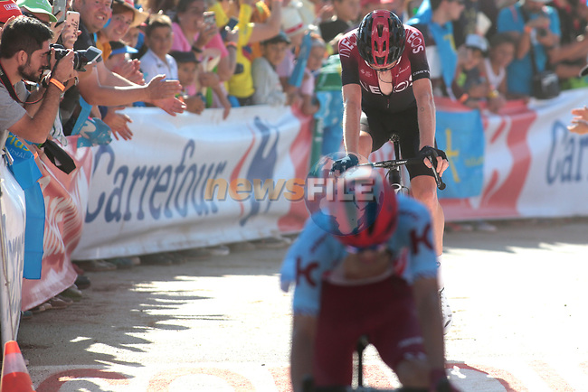 Tao Geoghegan Hart (GBR) Team Ineos crosses the finish line on the final climb of Stage 15 of La Vuelta 2019  running 154.4km from Tineo to Santuario del Acebo, Spain. 8th September 2019.<br /> Picture: Luis Angel Gomez/Photogomezsport | Cyclefile<br /> <br /> All photos usage must carry mandatory copyright credit (© Cyclefile | Luis Angel Gomez/Photogomezsport)