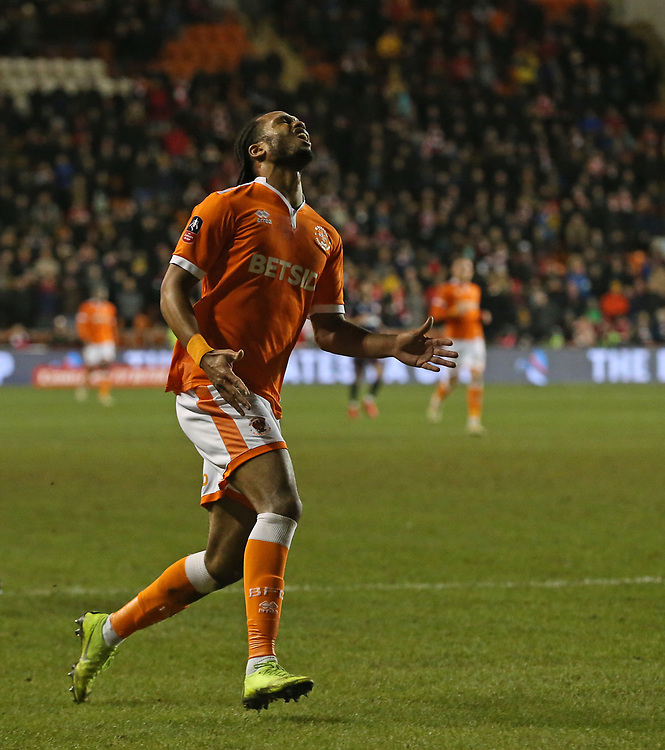 Blackpool's Nathan Delfouneso shows his frustration as he is tackled just before he can manage a shot on goal<br /> <br /> Photographer Stephen White/CameraSport<br /> <br /> Emirates FA Cup Third Round - Blackpool v Arsenal - Saturday 5th January 2019 - Bloomfield Road - Blackpool<br />  <br /> World Copyright &copy; 2019 CameraSport. All rights reserved. 43 Linden Ave. Countesthorpe. Leicester. England. LE8 5PG - Tel: +44 (0) 116 277 4147 - admin@camerasport.com - www.camerasport.com