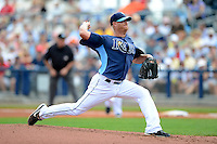 Tampa Bay Rays pitcher Alex Cobb #53 delivers a pitch during a Grapefruit League Spring Training game against the Boston Red Sox at Charlotte County Sports Park on February 25, 2013 in Port Charlotte, Florida.  Tampa Bay defeated Boston 6-3.  (Mike Janes/Four Seam Images)