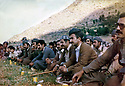 Iraq 1980 <br /> In Nawzang, commemoration of Aram, a peshmerga killed during the struggle. 1st rank, sitten, 6 th from right, Mullazem Omar Abdallah, next, Jalal Talabani  <br /> Irak 1980 <br /> A Nawzang, commemoration de la mort de Aram, peshmerga tue au combat. Ier rang, 6eme a droite, Mullazem Omar Abdallah et suivant, Jalal Talabani