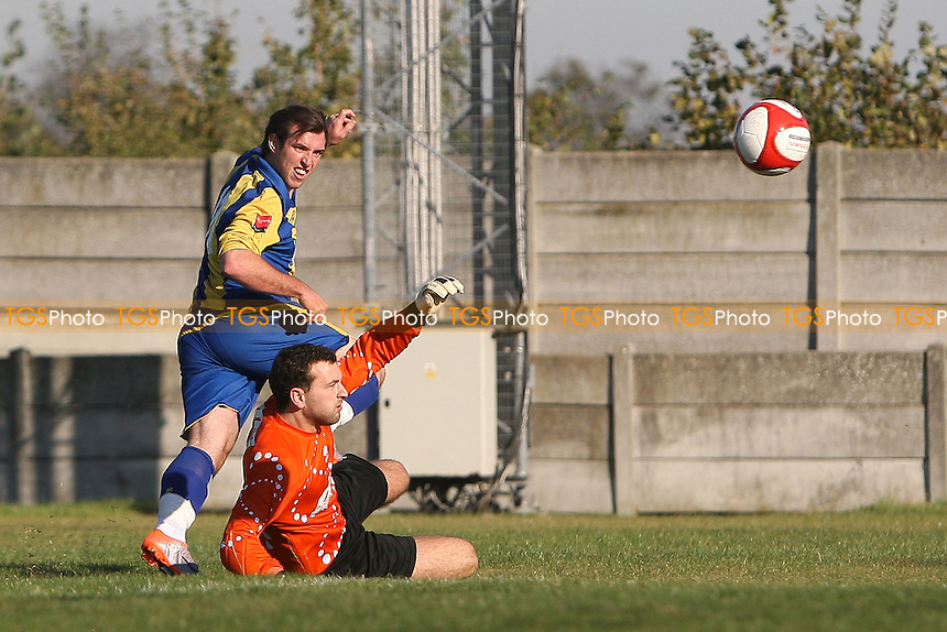 Nick Reynolds goes close to a goal for Romford - Romford vs Ware - Ryman League Division One North Football at Mill Field, Aveley FC - 15/10/11 - MANDATORY CREDIT: Gavin Ellis/TGSPHOTO - Self billing applies where appropriate - 0845 094 6026 - contact@tgsphoto.co.uk - NO UNPAID USE.