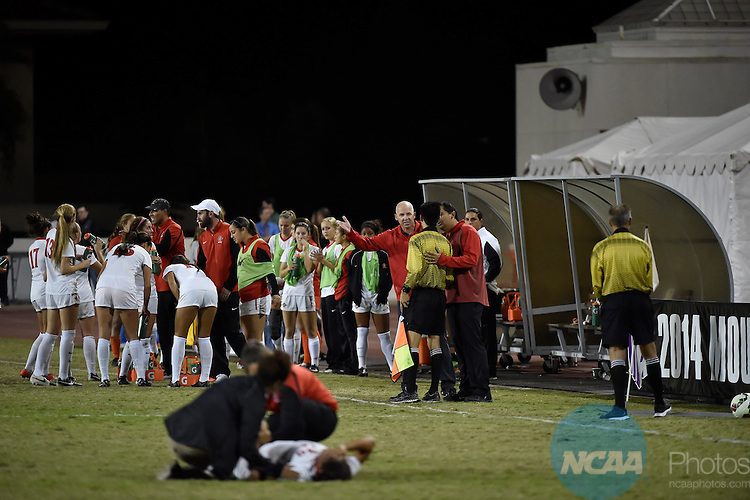 6 NOV 2014: San Diego State University takes on Colorado College during the 2014 Mountain West Women's Soccer Championship held at San Diego State University Sports Deck in San Diego, CA. Justin Tafoya/NCAA Photos