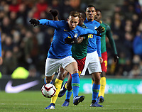 Arthur of Brazil and Barcelona and Arnaud Djoum of Cameroon and Heart of Midlothian during Brazil vs Cameroon, International Friendly Match Football at stadium:mk on 20th November 2018