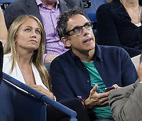BEN STILLER, CHRISTINE TAYLOR <br /> The US Open Tennis Championships 2014 - USTA Billie Jean King National Tennis Centre -  Flushing - New York - USA -   ATP - ITF -WTA  2014  - Grand Slam - USA  <br /> <br /> 3rd September 2014 <br /> <br /> &copy; AMN IMAGES