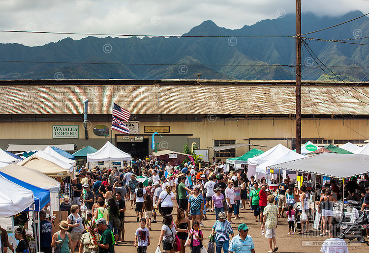 Vendors at the Taste of Waialua annual event which showcases North Shore agriculture and businesses on O'ahu.