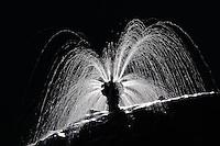 Time exposure of backlit fountain, Zermatt, Switzerland
