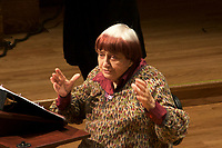 Agnes Varda filmmaker speaking at Wide Angle, the Norton lectures on cinema, at Sanders Theatre Harvard University 2.27.18