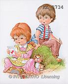 Interlitho, CHILDREN, nostalgic, paintings, boy, girl, letter, dog(KL3734,#K#) Kinder, niños, nostalgisch, nostálgico, illustrations, pinturas