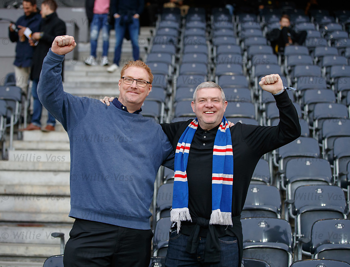 03.10.2019 Young Boys of Bern v Rangers: A pair of Rangers fans who just happened to be in Switzerland for a cheese convention!