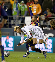 David Beckham is clipped by Real Salt Lake's Andy Williams. Real Salt Lake defeats the Los Angles Galaxy on penalty kicks 5-4 to win the 2009 MLS Cup at Qwest Field, Sunday, Nov. 22, 2009.