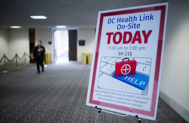 UNITED STATES - DECEMBER 4: DC HealthLink sent representatives to the Hart Senate Office Building to help Senate employees with health insurance enrollment on Thursday, Dec. 5, 2013. (Photo By Bill Clark/CQ Roll Call)