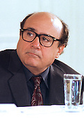 "Actor Danny DeVito, of the After School Alliance, listens to remarks of Ben Casey at the ""White House Conference on Teenagers: Raising Responsible and Resourceful Youth"" in Washington, DC on 2 May, 2000.<br /> Credit: Ron Sachs / CNP"