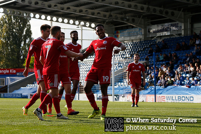 Chesterfield 1 Accrington Stanley 2, 16/09/2017. Proact Stadium, League Two. Mallik Wilks of Accrington Stanley celebrates after scoring the winning goal.  Photo by Paul Thompson.