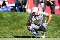 Sergio Garcia (Team Europe) on the 18th green during the Saturday morning Foursomes at the Ryder Cup, Hazeltine national Golf Club, Chaska, Minnesota, USA.  01/10/2016<br /> Picture: Golffile | Fran Caffrey<br /> <br /> <br /> All photo usage must carry mandatory copyright credit (&copy; Golffile | Fran Caffrey)