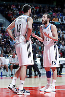 Real Madrid's Nikola Mirotic (l) and Sergio Rodriguez during Euroleague 2012/2013 match.January 11,2013. (ALTERPHOTOS/Acero) /NortePhoto