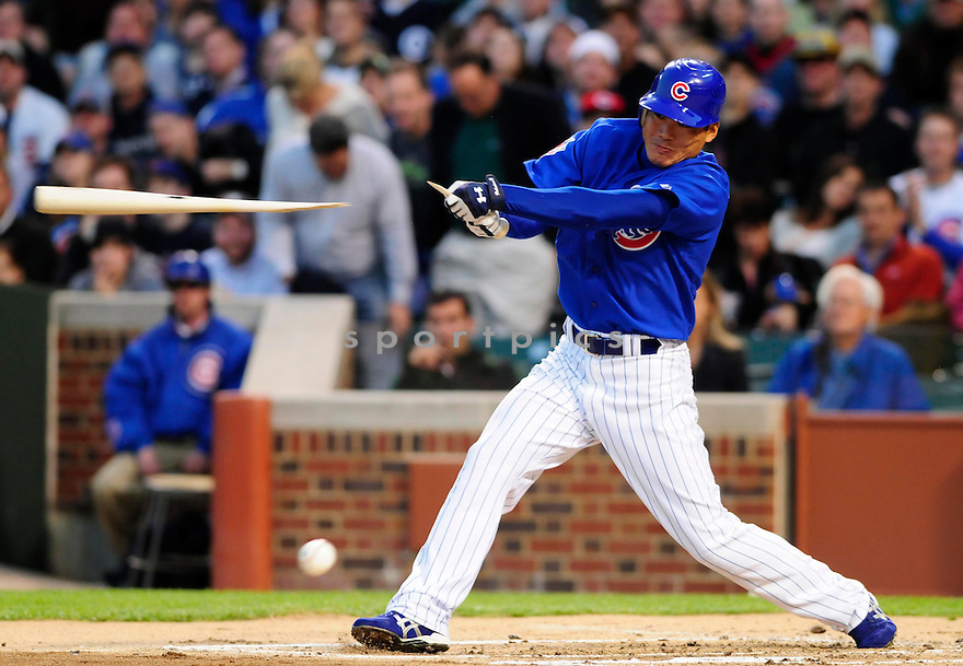KOSUKE FUKUDOME,of the Chicago Cubs , in action against the Cincinnati Reds during the Cubs game in Chicago, IL on April 16, 2008. The Cubs won the game 13-2.