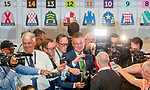 LOUISVILLE, KENTUCKY - APRIL 30: Richard Mandella, trainer of morning line Kentucky Derby favorite Omaha Beach, is swarmed by media after the Post Position Draw for the 145th Kentucky Derby at Churchill Downs in Louisville, Kentucky on April 30, 2019. Scott Serio/Eclipse Sportswire/CSM