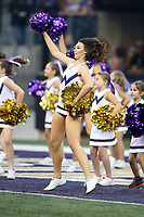 SEATTLE, WA - SEPTEMBER 16:  Washington cheerleader Samantha Jones entertained fans during the football game between the Washington Huskies and the Fresno State Bulldogs on September 16, 2017 at Husky Stadium in Seattle, WA. Washington won 63-7 over Montana.