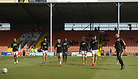 Blackpool squad during the pre-match warm-up <br /> <br /> Photographer Kevin Barnes/CameraSport<br /> <br /> The EFL Sky Bet League One - Blackpool v Peterborough United - Saturday 13th April 2019 - Bloomfield Road - Blackpool<br /> <br /> World Copyright &copy; 2019 CameraSport. All rights reserved. 43 Linden Ave. Countesthorpe. Leicester. England. LE8 5PG - Tel: +44 (0) 116 277 4147 - admin@camerasport.com - www.camerasport.com
